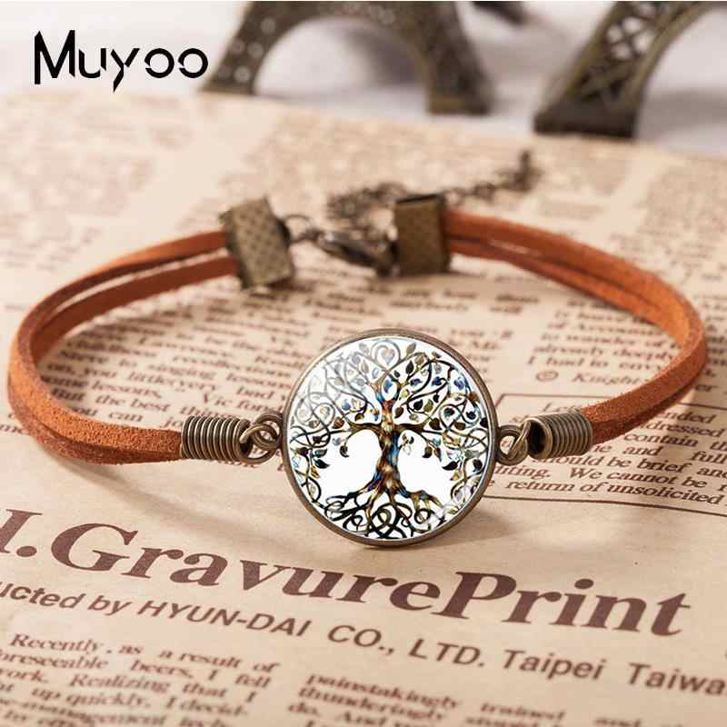 2018 New Tree Life Bracelet Glass Dome Photo Leather Bracelets Round Handmade Jewelry