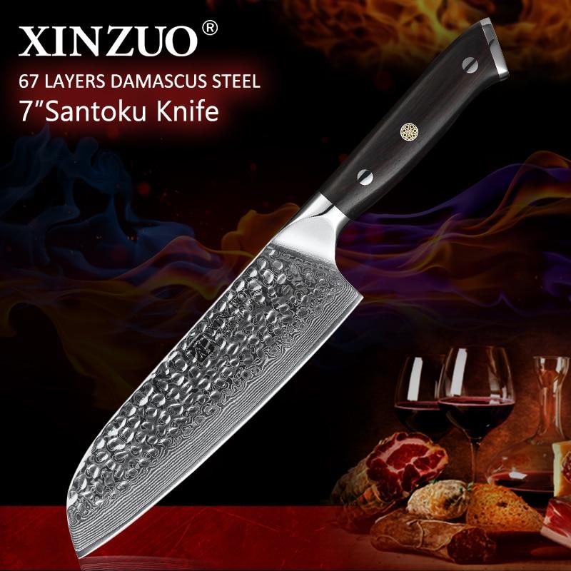 """Ev ve Bahçe'ten Mutfak Bıçakları'de XINZUO 7 """"Japon şef bıçağı Yüksek Kaliteli VG10 Şam Paslanmaz Çelik Yeni Keskin Mutfak Santoku Bıçak Abanoz Kolu ile'da  Grup 1"""