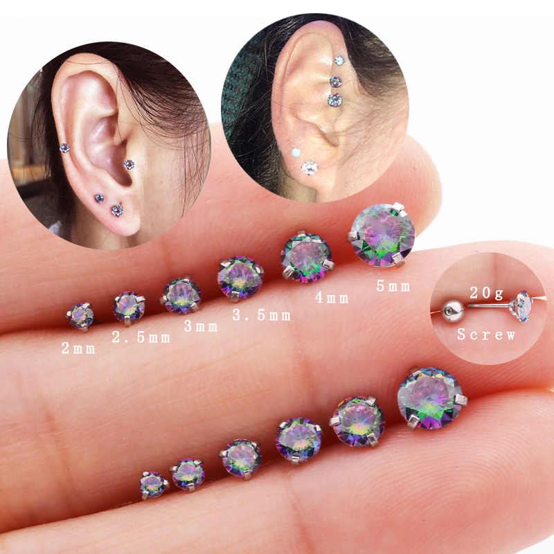 Sellsets 1piece New Fashion 20g Men Women Earring Jewelry Rainbow Gem Crystal CZ Cartilage Forward Helix Tragus Piercing