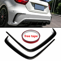 1Pair Car Painted ABS Rear Bumper Splitter Spoilers Canard for Mercedes for Benz W176 A200 A250 A45 for AMG 2013 2016