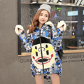 2016 New Fashion Cartoon Big Mouth down jacket women Sweet cute printed cotton down coat female thick warm student hoodies L6154
