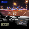 "X5 3 ""Universal Auto Car HUD Head Up Display X3 Excesso de Velocidade Aviso Windshield Projeto Sistema de Alarme Interface de OBD2 II"