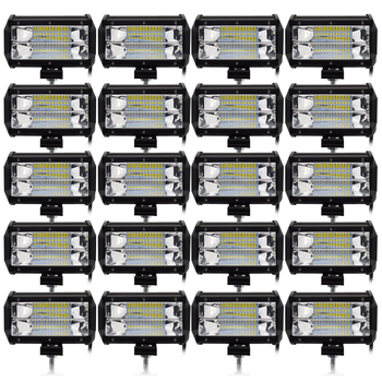 Safego 20pcs 5 Inch 72W LED Flood Work Light 24*3W LED Chips Offroad Car Light Fog Light Driving Light For Trunk Boat Tractor