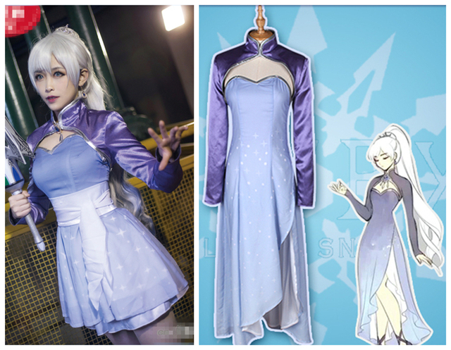7596c046cb502 US $94.73 13% OFF 2017 New Anime RWBY Season 4 White Weiss Schnee Cosplay  Costume For Christmas Women Uniform Suits Dresses-in Anime Costumes from ...