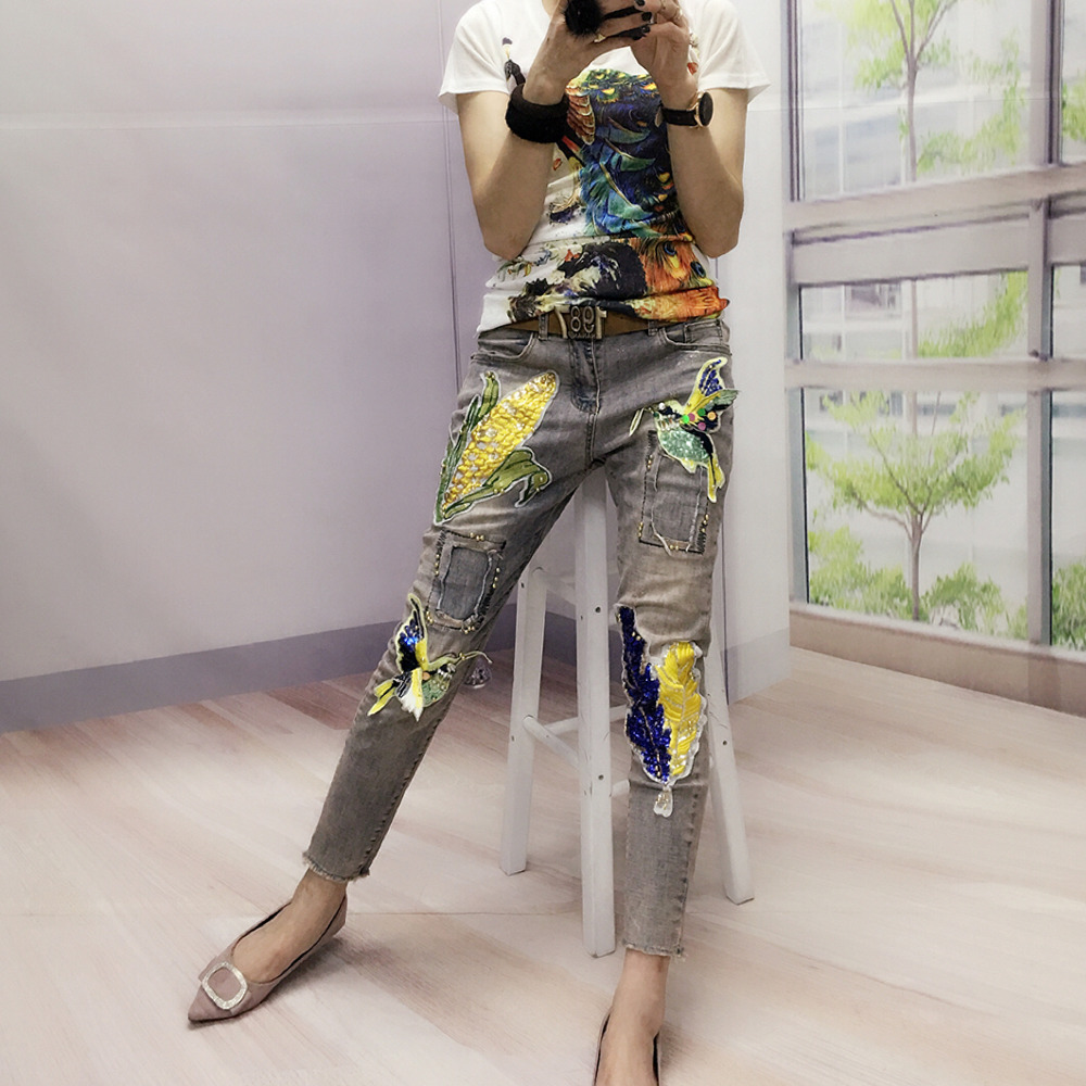European Golden Printed Flying Bird Badge Ripped Hole Out Patchwork Lady Fashion Trends Female Jeans блокнот для заметок golden bird 2011 20pcs lot hh 30023