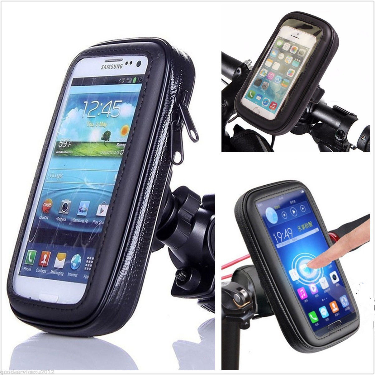 Motorcycle Bike Front Handlebar Mount Phone Holder For Iphone 6 7 Plus Waterproof Bag Case Samsung J3 J5 2016 Touch