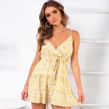 New Boho Summer Holiday Dresses Ruffle Full of Dot Mini Yellow Women Sling V-Neck Short Dress For Vacation Daily 81881