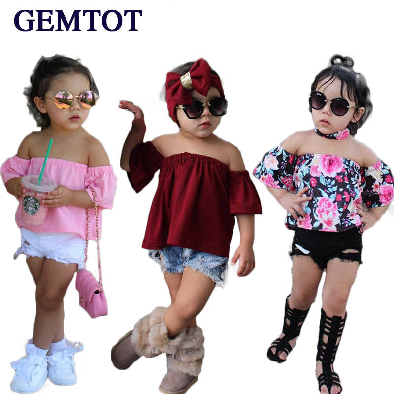 GEMTOT Baby Girls Clothing Set  2017 INS Kids Fashion Outfit Casual Tank Tops + Denim Shorts Girls Clothes Suit retail 2014 2pc baby girls kids rabbit tops dot denim overalls dresses outfit clothes children s clothing set suits