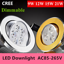 1PCS 9w 12W 15w 21W  led dimmable Ceiling light Epistar LED ceiling lamp Recessed Spot light 110V-220V