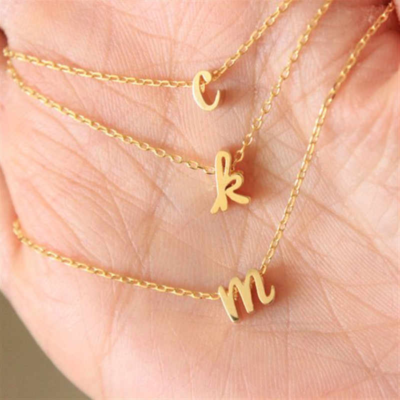 Tiny Cursive Initial Necklace Dainty Lowercase Initial Letter Necklace Delicate Personalized Name Gift For Mom Child Sister
