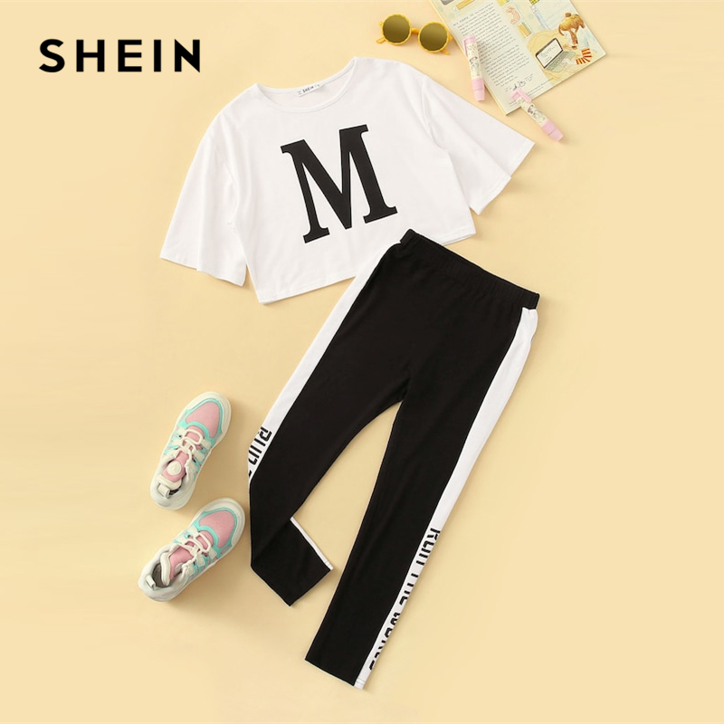 SHEIN Kiddie Girls Letter Print Tee And Contrast Side Leggings Set 2019 Summer Active Wear Short Sleeve Colorblock Suit Sets