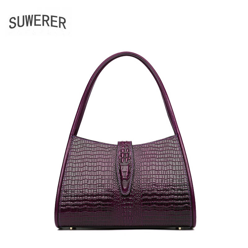 SUWERER women leather handbag Superior cowhide Luxury fashion Crocodile pattern women Genuine Leather bag women shoulder bag