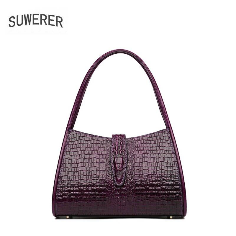 Sac à main en cuir pour femme SUWERER sac à main en cuir de vachette de luxe modèle Crocodile pour femme sac en cuir véritable sac à bandoulière pour femme