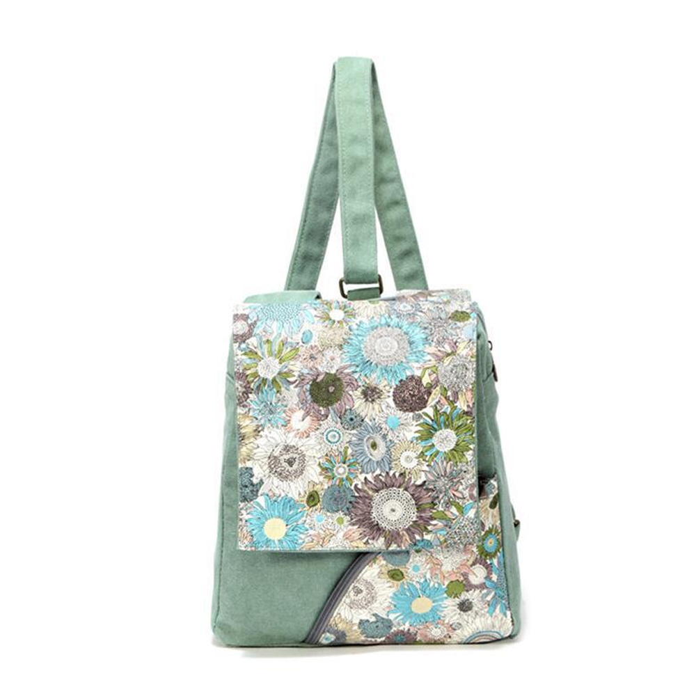 2017 New Canvas Chrysanthemum Flowers Women National Wind Simple Fashion Backpack Soft Printing Bags for Girls Shopping Bagpacks