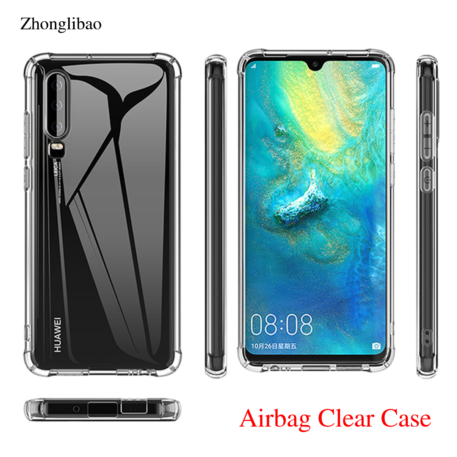 Airbag Silicone Case for <font><b>Huawei</b></font> P30 Mate 20 P20 Pro Lite Nova 3e 3i 4 Y6 <font><b>Y7</b></font> Prime <font><b>2018</b></font> P Smart 2019 Clear TPU Soft Bumper Cover image