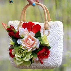 women straw bag crochet beach bags 2017 vintage flowers lace wedding wristlets lady bags beach totes bohemian female handbag