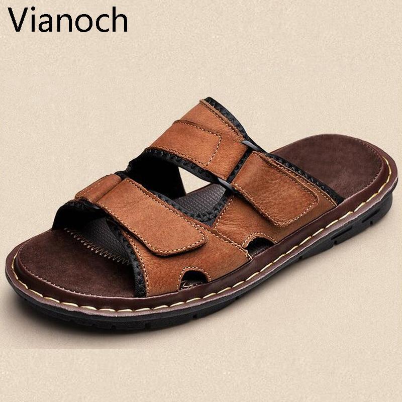 1ea1d1403f7d39 2019 nouveaux hommes sandales diapositives pantoufles appartements  chaussures de plage d'été grande taille grande chaussure en cuir homme Plus grande  grande ...