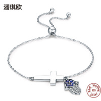 2017 Authentic 925 Sterling Silver Hamsa Hand Cross Faith Power Lace Up Women Link Blue Eyes