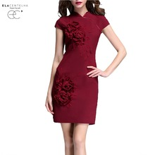 ElaCentelha Women Dress Vintage Style Mandarin Collar Flower Appliques Pencil Dresses Summer Ladies Short Sleeve Work Dress