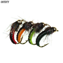 8 Pcs/pack Fly Fishing Hook Ice Silk Nymph Insect Bait Bronze Shoulder Fast Head Flying Caterpillar Carp Artificial Sucking