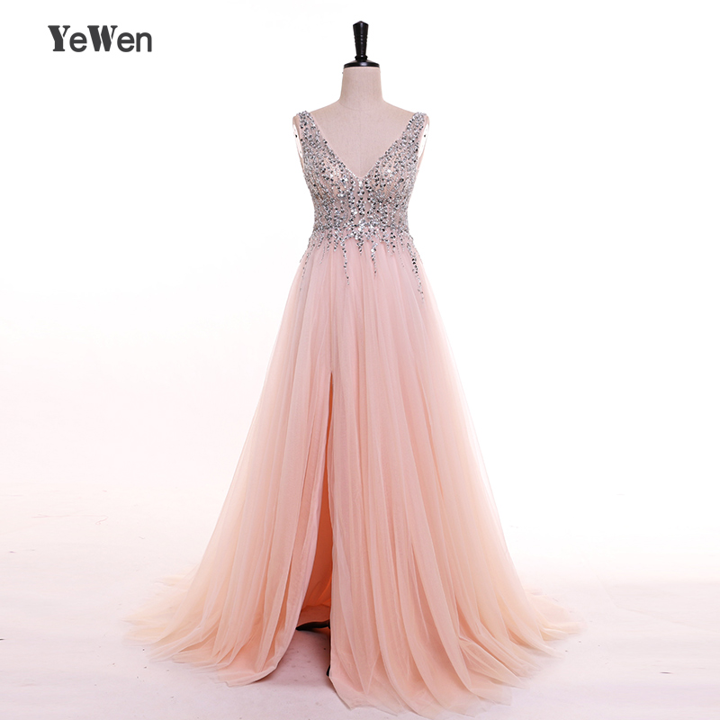 YeWen V Neck Vestido De Festa   Evening     Dresses   Long Crystal Beaded Party Formal Prom   Dress   2019 Lebanon Women Elegant Sexy Gown