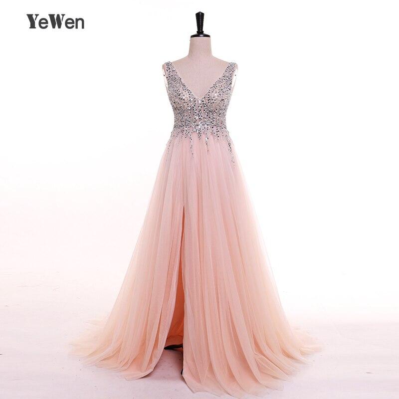 YeWen V cou Robe de Festa Robes De Soirée Longue Cristal Perlé Partie Formelle De Bal Robe 2018 Liban Femmes Élégant Sexy robe