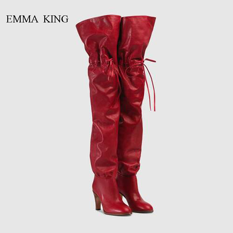 Hot Mujer Stretch Lace-Up Over the Knee Boots Fashion Square High Heels Red Western Boots Women Autumn Winter Bottes Femme ShoesHot Mujer Stretch Lace-Up Over the Knee Boots Fashion Square High Heels Red Western Boots Women Autumn Winter Bottes Femme Shoes