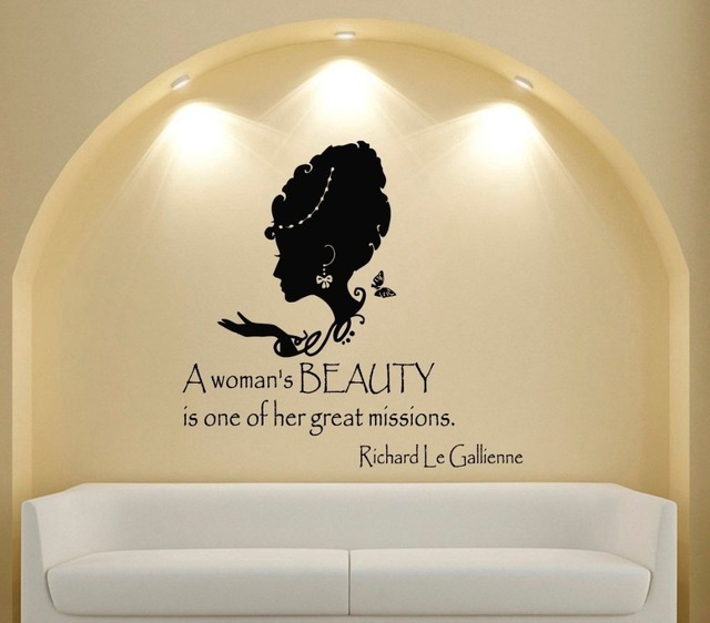 Custom Name Salon Vinyl Wall Decal Quote A Womans Beauty People Interior Design Art Sticker