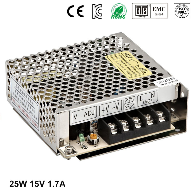 Best quality 15V 1.7A 25W Switching Power Supply Driver for LED Strip AC 100-240V Input to DC 15V free shipping best quality 5v 2a 10w switching power supply driver for led strip ac 100 240v input to dc 5v free shipping