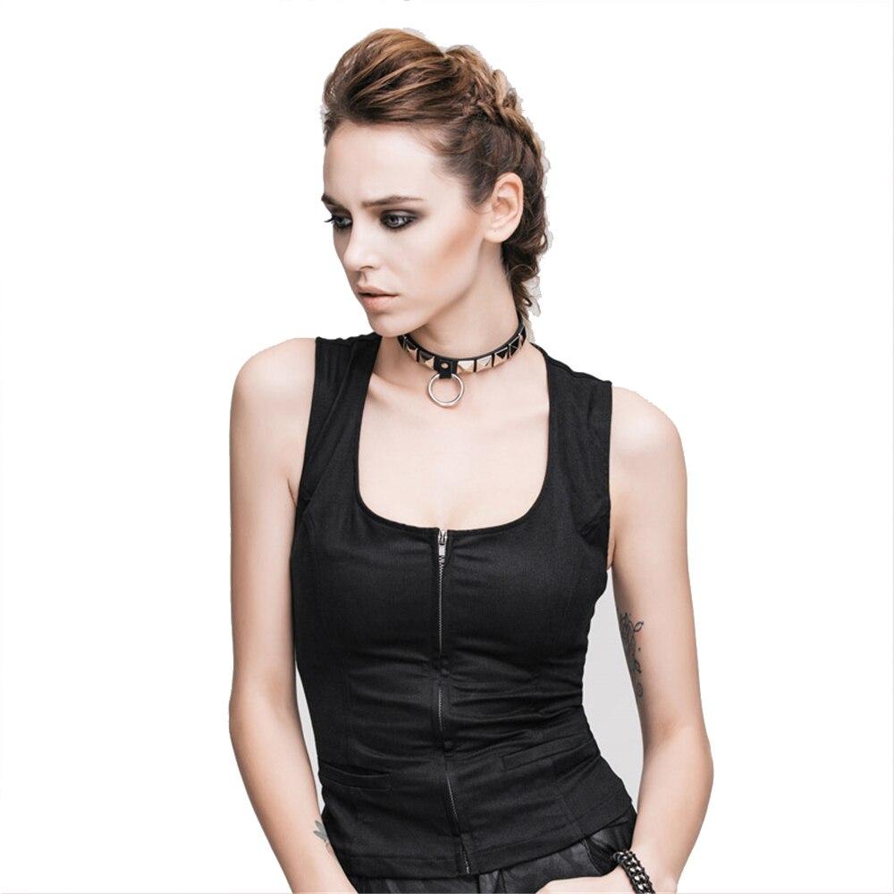 Punk Women Black Vest Back Lace Up Sexy Sleeveless Waistcoat O Neck Summer Cotton Casual Short