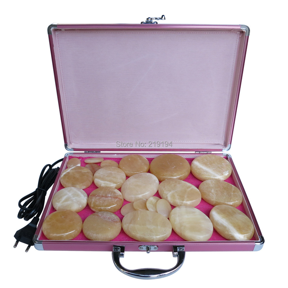 New type! yellow Jade 23pcs/set Hot stone body massager Salon SPA with heater box Stone Massage Rocks CE and ROHS