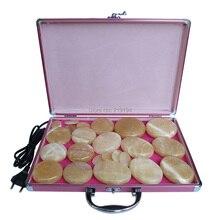 Nouveau type! jaune Jade 23 pcs/ensemble pierre Chaude massage du corps Salon SPA avec chauffage boîte Massage aux Pierres Roches CE et ROHS