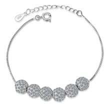 Everoyal New Arrival Lady 925 Sterling Silver Bracelets For Women Jewelry Fashion Crystal Ball Shiny Accessories Girls