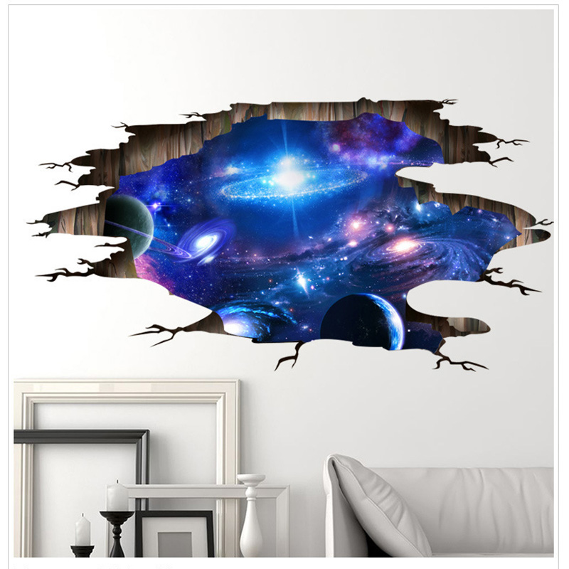 Creativity Starry Sky 3D Wall Sticker Cosmic Galaxy Wall Decals for Kids Room Floor Decoration Blue Sky Ceiling Stickers