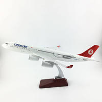 FREE SHIPPING 45 47CM A340 TURKISH METAL BASE AND RESIN MODEL PLANE AIRCRAFT MODEL TOY AIRPLANE BIRTHDAY GIFT