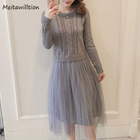 2018 Autumn Winter Women Loose Dress Ladies Solid Long Sleeve Vintage Dress Female Patchwork Mesh Knitted
