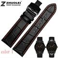 Pulseira de couro 18mm 20mm 22mm preto homens crocodile genuine leather assista banda strap butterfly prata de aço inoxidável fecho
