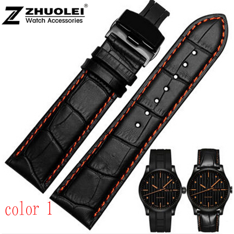 leather bracelet  18mm 20mm  22mm Black Men Crocodile Genuine Leather Watch Band Strap Silver Butterfly Stainless Steel Clasp opk ds967 bracelet black