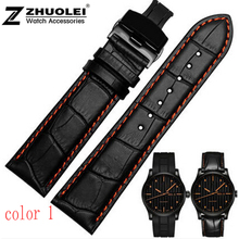 leather bracelet  18mm 20mm  22mm Black Men Crocodile Genuine Leather Watch Band Strap Silver Butterfly Stainless Steel Clasp