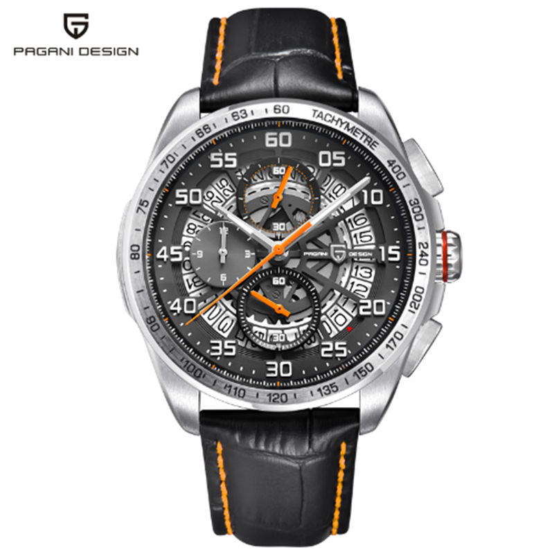 PAGANI design quartz leather skeleton waterproof watch luxury brand sports time men