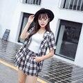 Женская Одежда 2017 Лето Корейской Моды Клетчатую Рубашку Шорты Из Двух Частей Свободные Костюм Плюс Размер Леди Шорты Наряд Сетки одежда