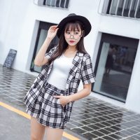 To Film Women S Clothing Han Edition Summer Fashion Tide Checked Shirt Shorts Two Piece Loose