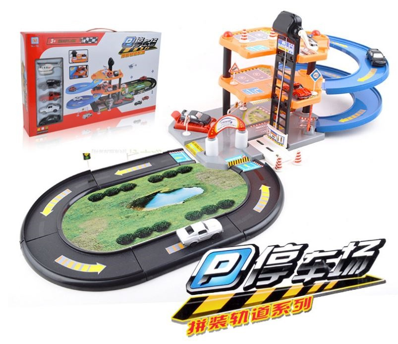 ФОТО Free Shipping Parking Orbit Colorful Car Toys 4Car + 1 air plane Dunk Track Spiral Roller Gift For Children