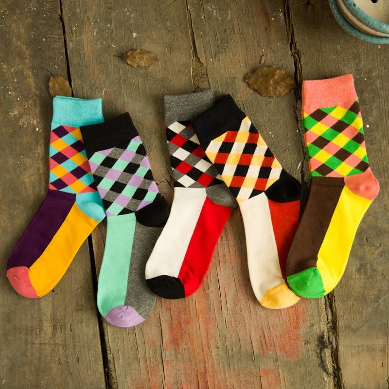 Underwear & Sleepwears 5 Pairs Men Short Sock Happy Socks British Wind Colorful Plaid Creative Trendy Men Socks Durable Stretchy Cotton Sock Meias Crew
