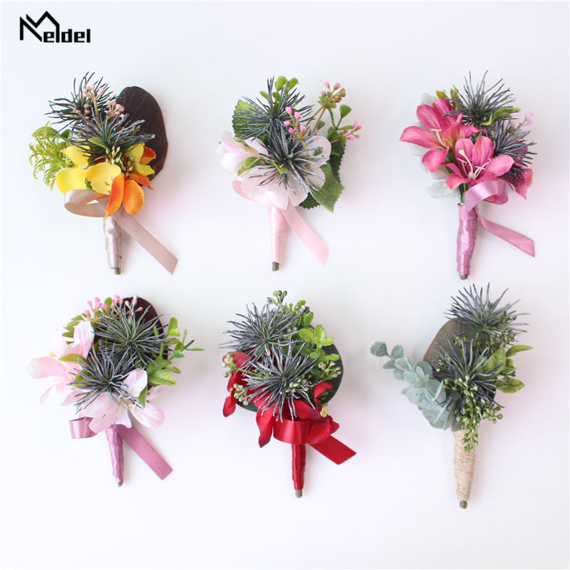 Meldel Wedding Corsage Groom Boutonniere Bridal Wrist Corsages Bracelet Artificial Orchid Flowers Green Yellow <font><b>Marriage</b></font> Supplies image