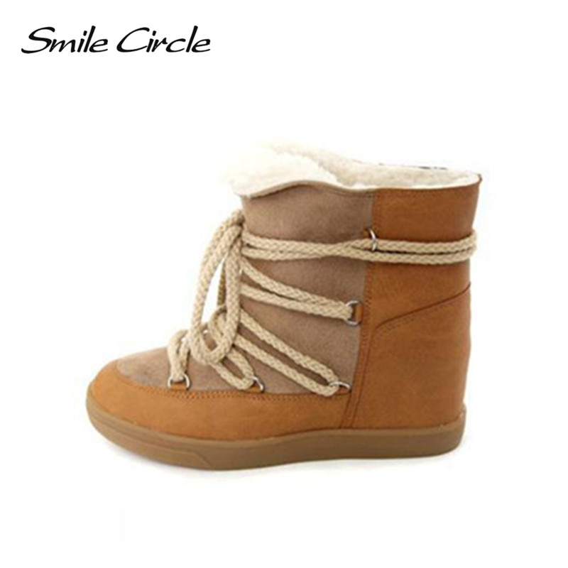 Smile Circle 2018 Winter Shoes For Women Lace-up Wedge Boots Women's High heel Elevator Shoes Ankle Boots Warm Plush Snow Boots tie up pompons hidden wedge snow boots