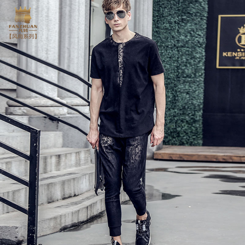 Fanzhuan Free Shipping New fashion casual 2017 male Men s Summer short sleeved t shirt ninth