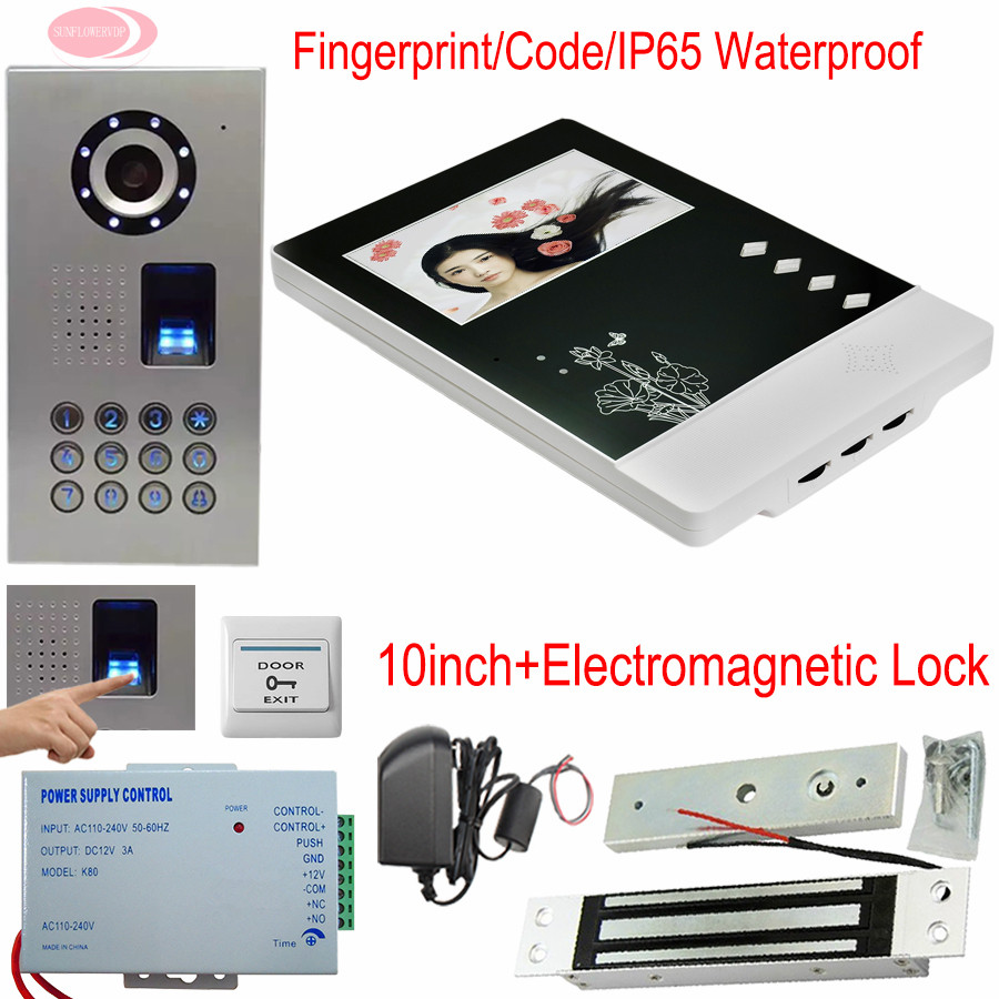 4.3 inch Color TFT LCD Wired Monitor Video Door Fingerprint/Code+Magnetic Door Lock Video Doorphone Outdoor Unit IP65 Waterproof 7 inch video doorbell tft lcd hd screen wired video doorphone for villa one monitor with one metal outdoor unit rfid card panel