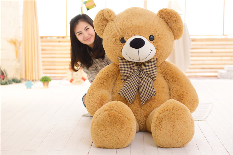цена на stuffed toy huge 160cm light brown teddy bear plush toy bowtie bear doll soft throw pillow,Christmas gift b1405