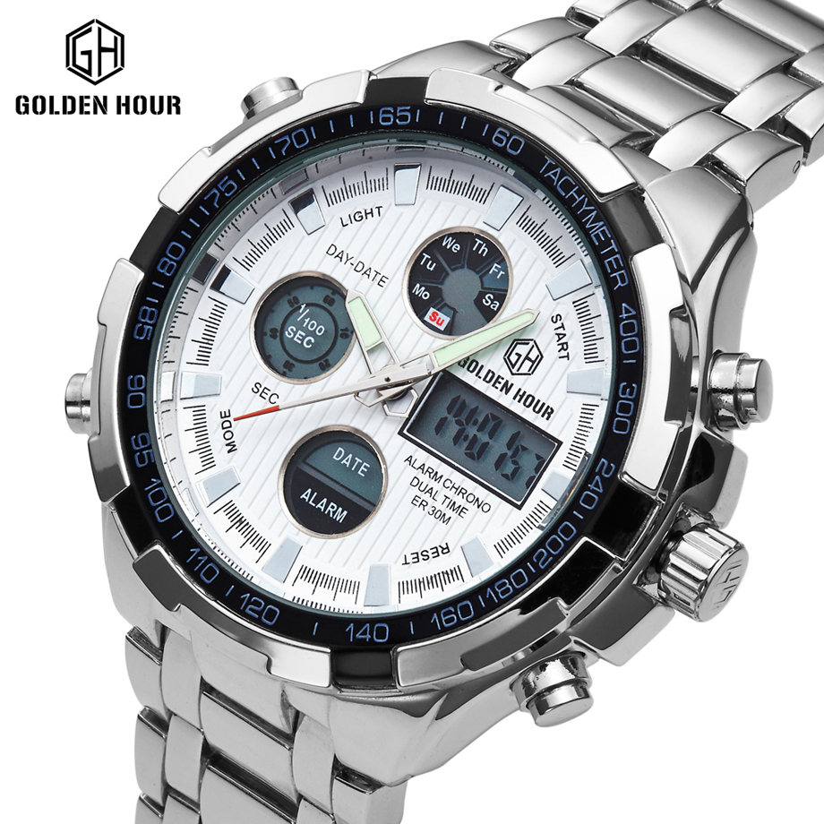 Top Brand Luxury Men Sports Watches Full Steel Golden IPS Plating Waterproof Alarm Date LED Digital Analog Military Wristwatch